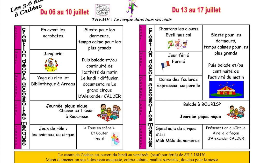 Programme des 3 . 6 ans à Cadéac