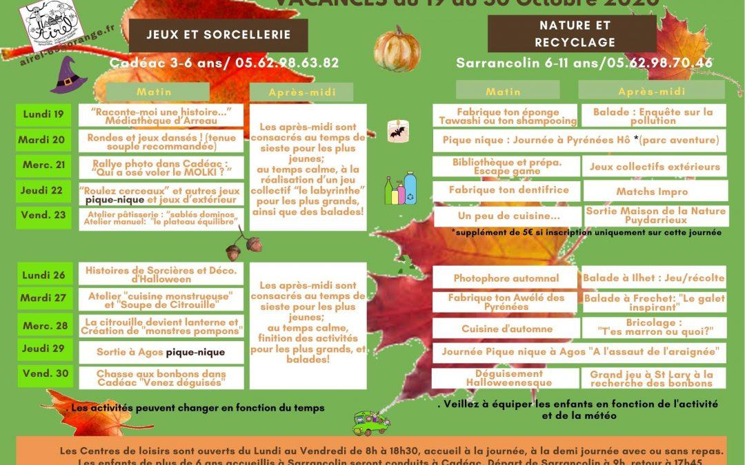 Programmes des vacances de la toussaint pour les 3 . 11 ans