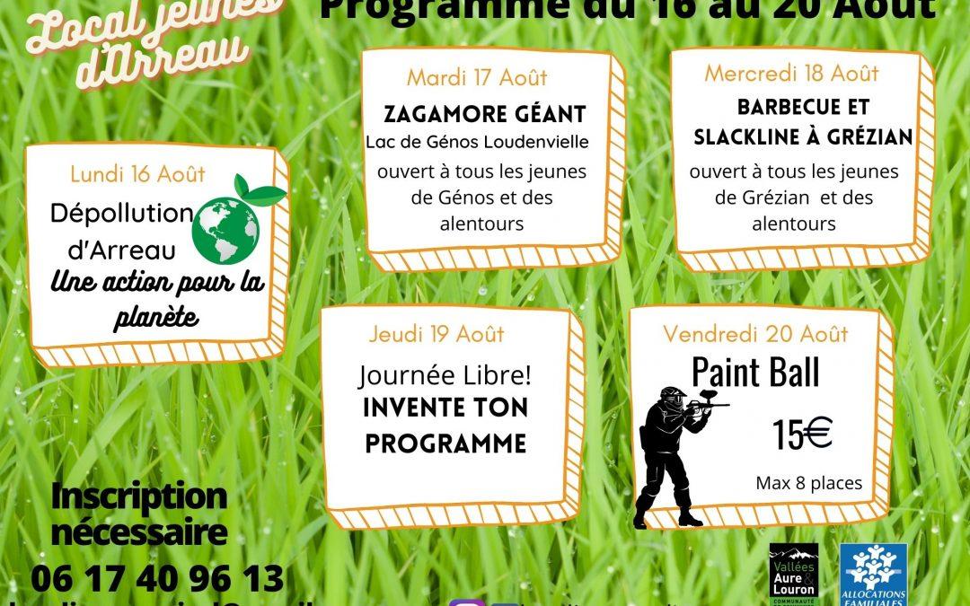 Programme des ados du 16 au 20 Août