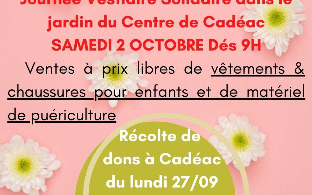 Journée d'ouverture du Vestiaire Solidaire Samedi 02/10 à Cadéac